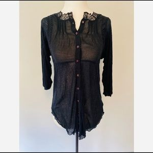 Free People Button up Blouse Lace LongSleeve XS